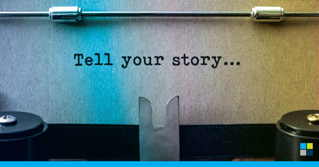 What is brand media and typewriter telling a story