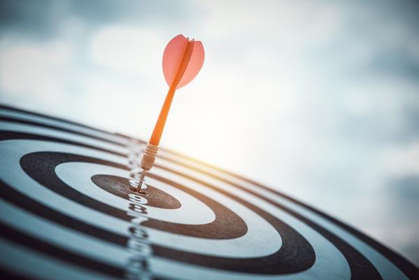 Targeted digital marketing like dart arrow in the target